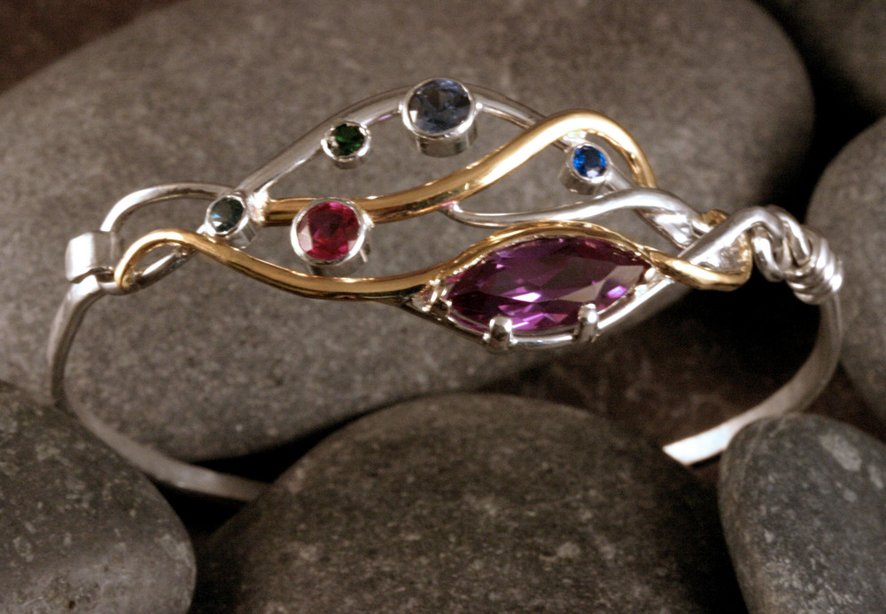 Sterling silver & 14K gold seaweed bracelet with customer's assorted stones.