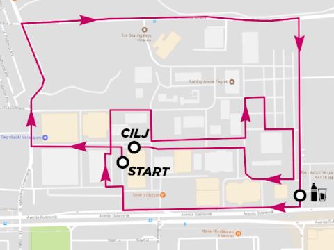 ruta:Paviljon br. 5 i 6 - Zapad 2 (između Paviljona br.1 i 2) - nogostupom prema Hipodromu - od Hipodroma prema južnom dijelu velesajma duž cijelog kolnika - skretanje na pristupnu cestu paralelnu s Avenijom Dubrovnik - ulazak u prostor velesajma kod južnog ulaza - protrčavanje kroz Paviljon br. 5 -prolazak uz startno/ciljni prostor u smjeru istočnog dijela -prolazak uz Karting arenu - posljedni kilometarski krug - povratak u cilj