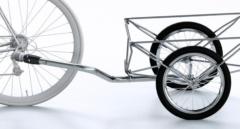 """Sicher & Flexibe  l  - Hochfester Edelstahl und der tiefliegende Verbindunspunkt am Ausfallende des Fahrrades machen Transporte viel sicherer.Die z.Deichsel passt an Fahrräder und eBikes mit 26"""" bis 28"""" Hinterrädern. Andere Radurchmesser auf Wunsch."""