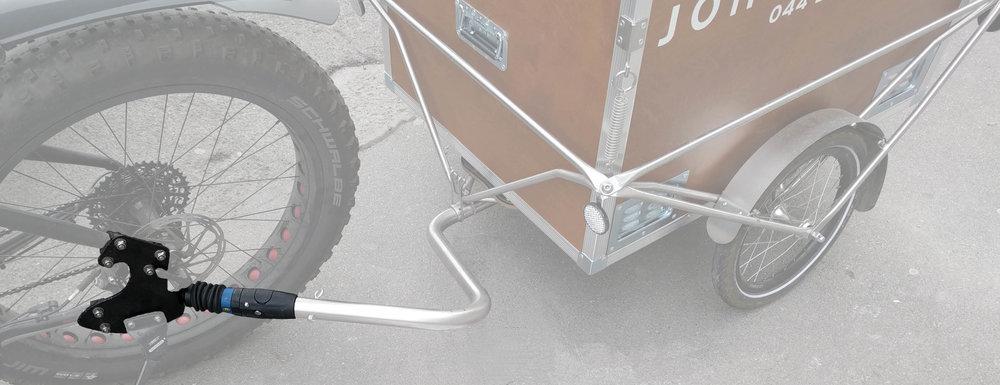 Verbindung für Profis  - Wer wie das Unternehmen John Baker in Zürich mit polyroly gern mal 100km pro Tag macht und regelmässig schwere Ladungen mit starken eBikes zieht, braucht speziell gefertigte Adapterplatten, um die ernormen Kräfte optimal auf den Fahrradrahmen zu übertragen. Adapterplatten werden speziell gefertigt und dem Zugfahrzeug jeweils individuell angepasst. Der Zugang zu allen Komponenten am Rückrad, wie Schaltung und Bremsen, bleibt so erhalten. Für mehr Info bitte direkt mit uns Kontakt aufnehmen.