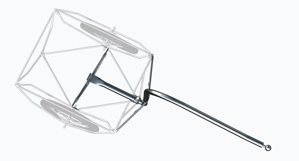 Material -  Edelstahlrohr 33.7x2mm bez. 26.9x2mm (1.4404) für eine eine optimale Kraftübertragung auf den Spaceframe Das Anschlussstück ist eine hochwertige Edelstahlkugel (1.4404).
