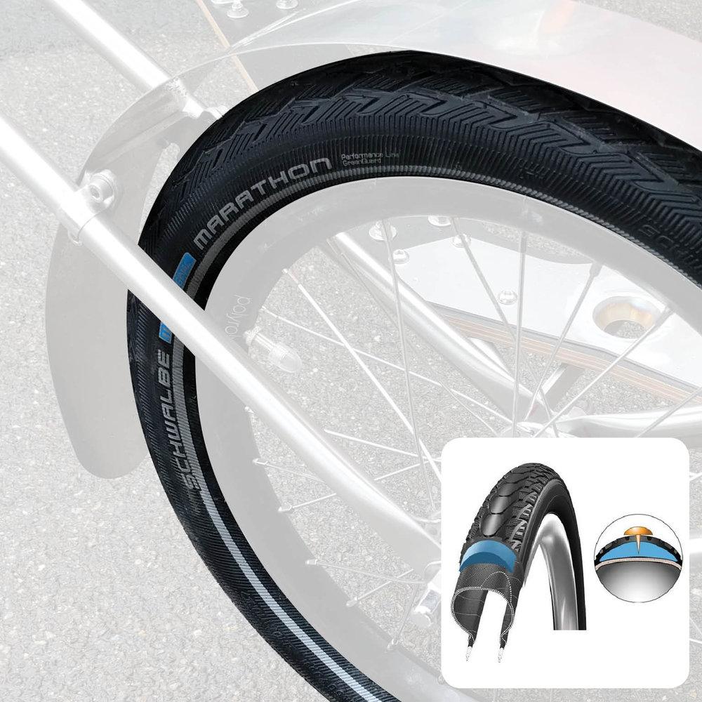 """Option - """"Marathon"""" Reifen von Schwalbe für Lasten über 80kg, maximalen Pannenschutz und hohe Fahrleistungen. Besonders für Transportprofis ein Muss, da unglaublich abriebfest und pannenresistent."""