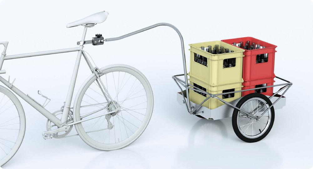 Vorsicht  - Auch die c.Deichsel wird meist an der Sattelstange mit dem Fahrrad verbunden. Darum ist es wichtig, dass diese auch entsprechend dimensioniert ist!