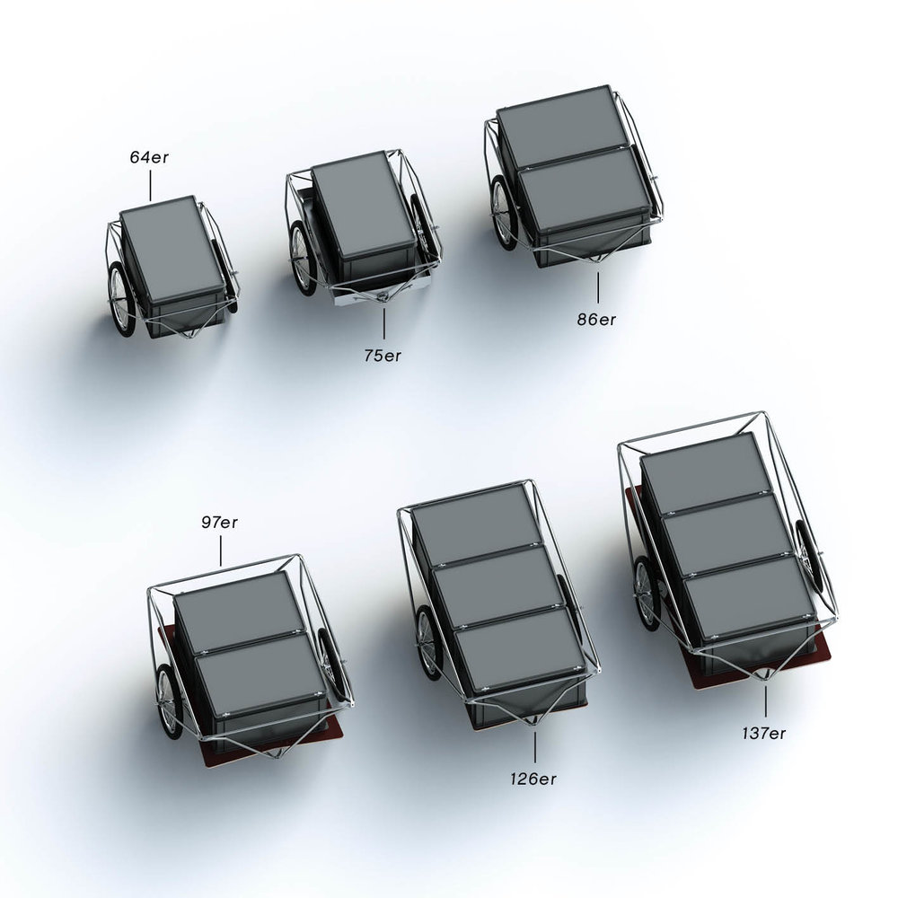 Plus-Grössen 1  - Die Plus-Grössen  75er ,  97er  und  137er  bieten umlaufend zusätzlichen Raum zwischen Normbehälter und Spaceframe...