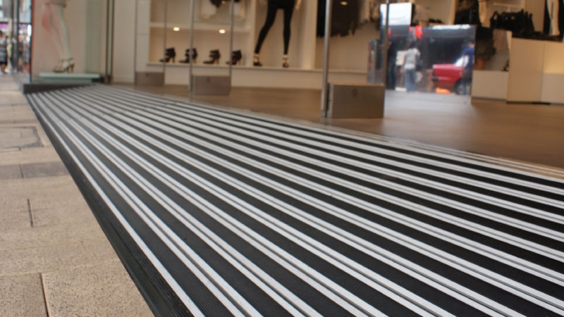 Safety Matting - Our safety matting solutions are constructed from anodised heavy duty aluminium treads to provide an attractive, safe, non slip and easily maintained barrier between internal and external surroundings.