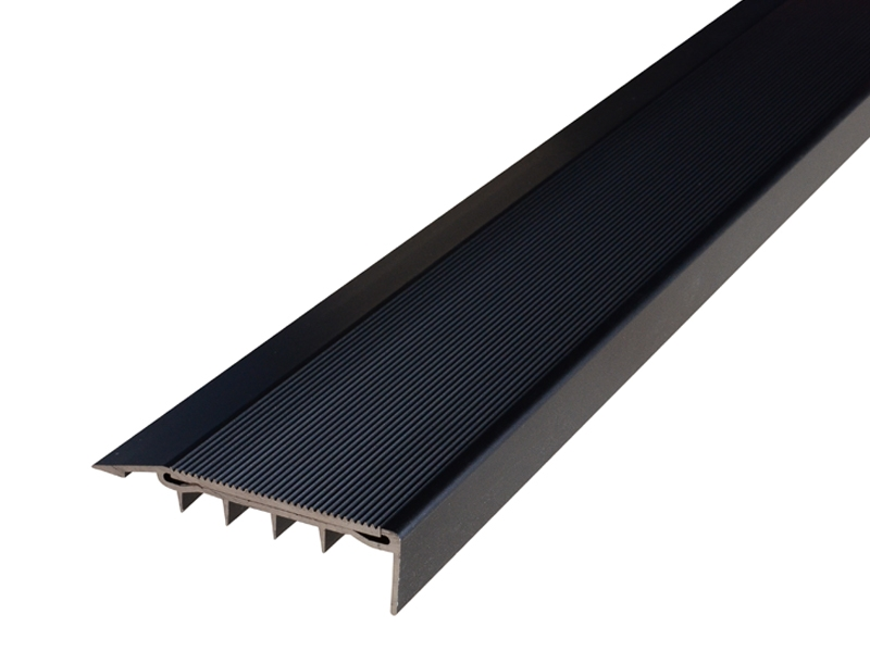 Surface Mounted Broadloom Carpet Black Anodised Profile with Corrugated Black Anodised Insert