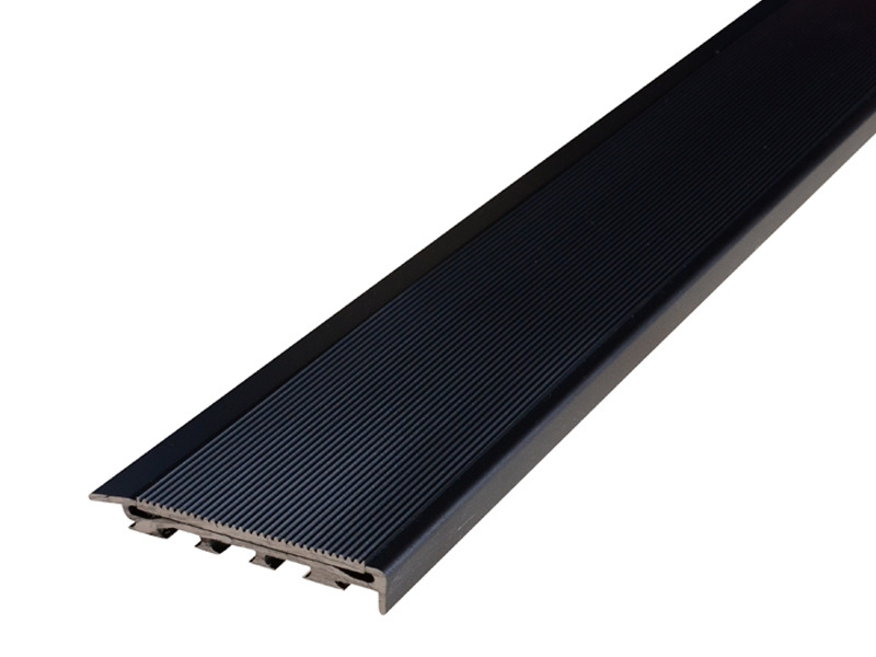 Recessed Direct Stick Black Anodised Profile with Corrugated Black Anodised Insert