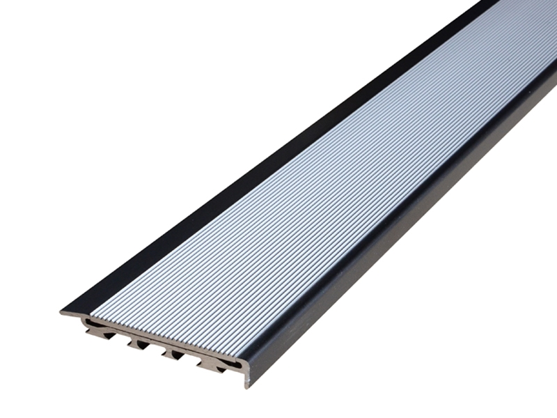 Recessed Direct Stick Black Anodised Profile with Corrugated Clear Anodised Insert