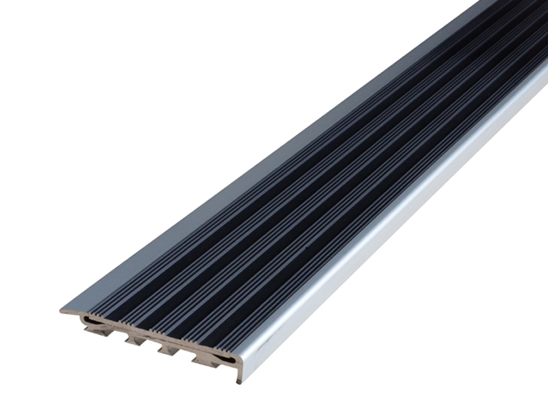 Recessed Direct Stick Clear Anodised Profile with Striped Black Anodised Insert
