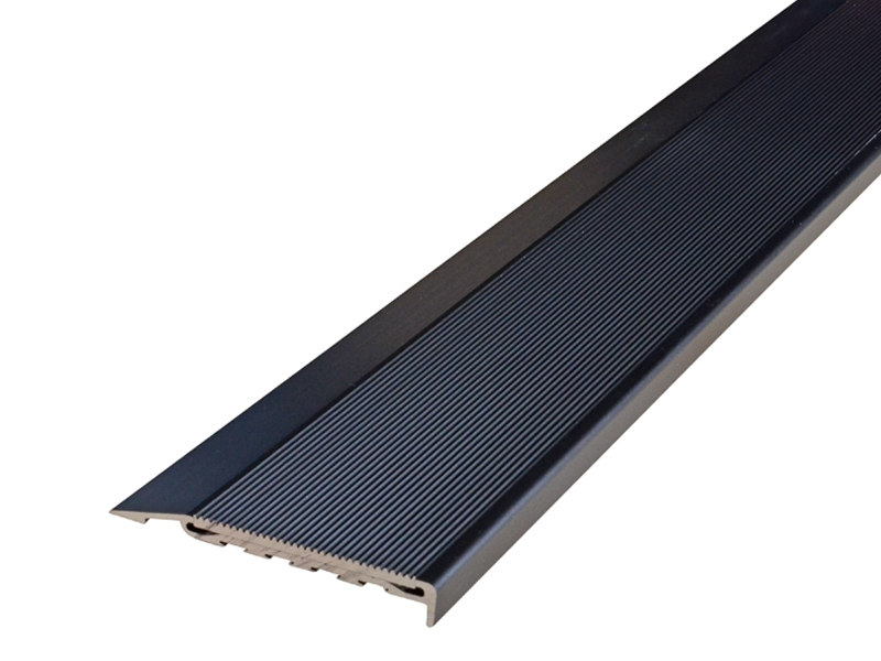 Surface Mounted Black Anodised Profile with Corrugated Black Anodised Insert