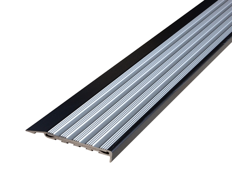 Surface Mounted Black Anodised Profile with Striped Clear Anodised Insert