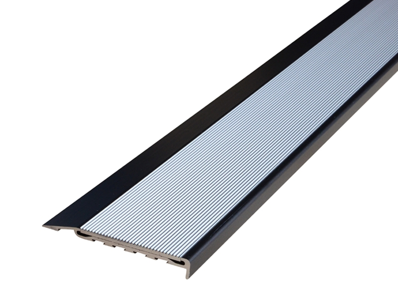 Surface Mounted Black Anodised Profile with Corrugated Clear Anodised Insert