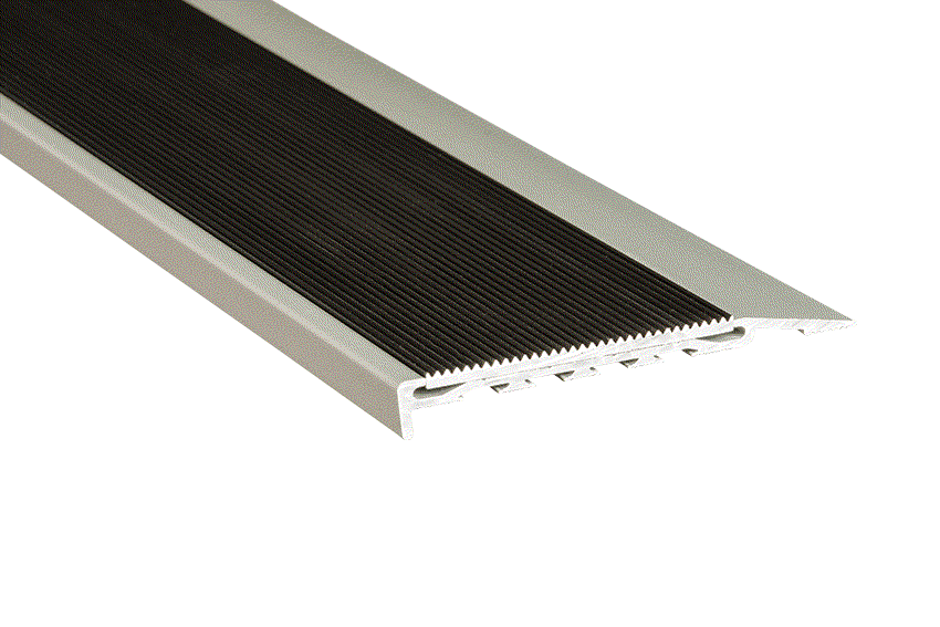 Black Corrugated Aluminium Insert with Silver Anodised Nosing (SKU: 221114)