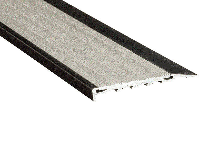 Silver Striped Aluminium Insert with Black Anodised Nosing (SKU: 221122)