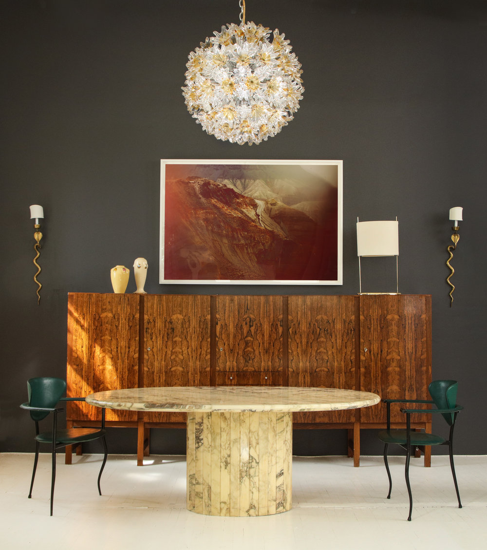 josh gaddy april 2017 marble dining table, danish highboard, 80's postmodern chairs vignette.jpg