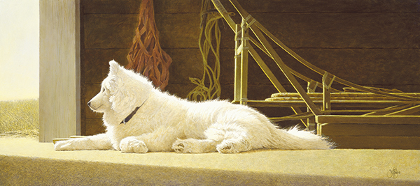 """Samoyed Dreams"" - Published as a canvas giclee, each print is signed and consecutively numbered by the artist. Edition Size: 225. Image Size: 12""x27"". From $295"