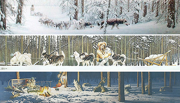 "Limited availability on these three great dog sledding prints ""A Breed Apart"", ""Eager to Run"" and ""Never Alone"". Pricing varies depending on image and availability."