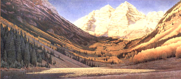 """Rocky Mountain Gold""  - Limited edition prints are published on fine art paper, each is signed and consecutively numbered by the artist. Edition size: 550. Image Size: 16""x35"". From: $165"
