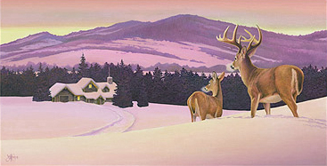 """First Snow"" - Original watercolor painting by artist Scott Kennedy. Available for purchase."