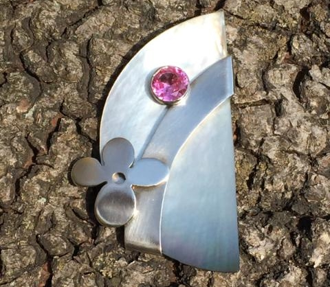 Sterling Mother of Pearl Moon Pin