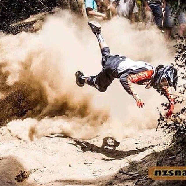 The good news? He's not tangled up in his bike. #mtb #ride #crash #ER #singletrack #dh #bike @oakleybike @redbull @tld_bike @mtb_madness @sidimotousa @maxxistires @iamspecialized @srammtb @enduromag @mountainbikeaction @gopro @mrm_usa