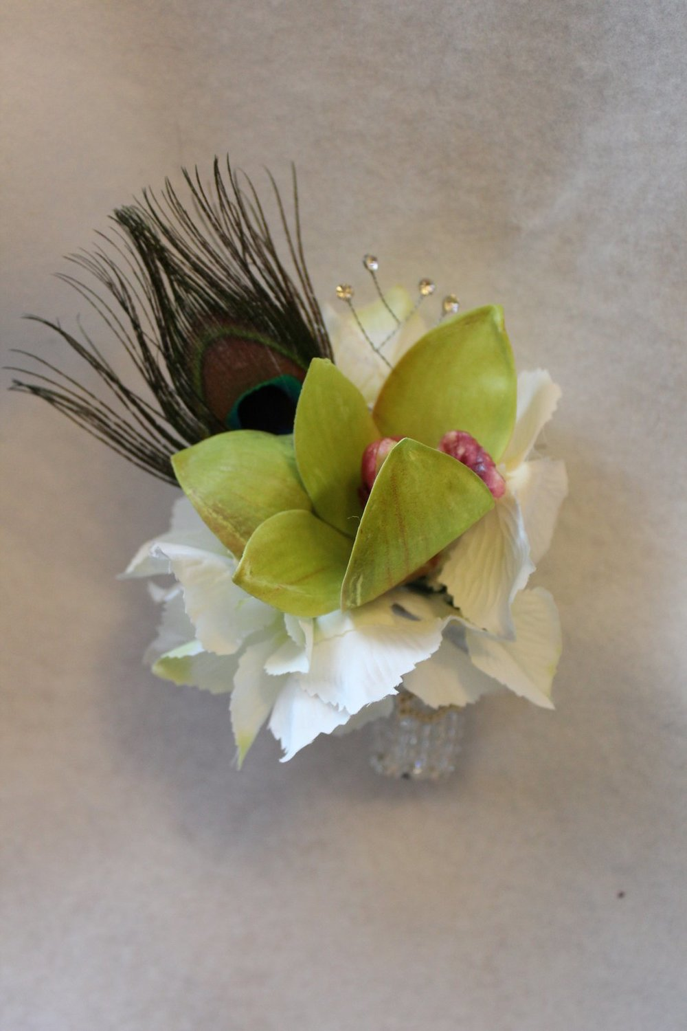 Peacock Feathers In Corsages Silk Wedding Flowers And Bouquets