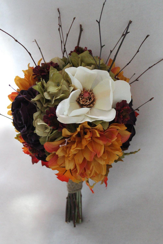 Fall silk wedding flowers jewel tones silk wedding flowers and bridal bouquet orange dahlias purple roses cream magnolia green hydrangea burgundy mini zinnias fall leaves and twigs izmirmasajfo Choice Image