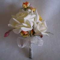 Cream and Orange Rose Corsage - Minneapolis Silk Florist