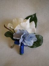 Cream Rose and Blue Hydrangea Corsage - Minneapolis Silk Florist