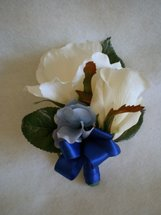 White Rose and Blue Hydrangea Corsage - Minneapolis Silk Florist