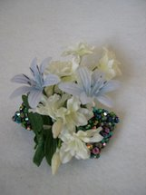White and Blue Wrist Corsage with Beaded Bracelet - Minneapolis Silk Florist