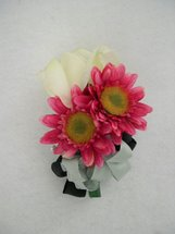 Cream Rose and Pink Gerbera Daisy Corsage - Minneapolis Silk Florist