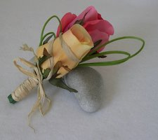 Pink and Yellow Rose and Grass Accent Corsage - Minneapolis Silk Florist