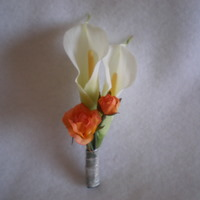 White Calla and Orange Rose Boutonniere - Minneapolis Silk Florist
