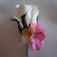 White Rose and Pink Hydrangea Boutonniere - Minneapolis Silk Florist