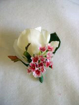 White Rose and Pink and White Accent Flower Boutonniere - Minneapolis Silk Florist