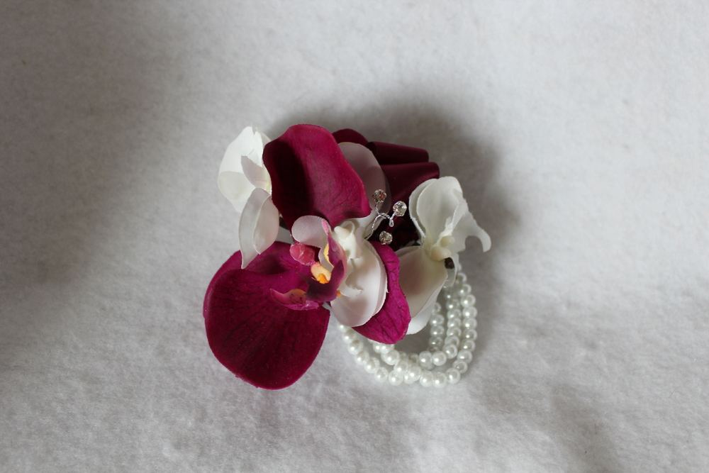Wine and White Orchids with Pearl Beaded Bracelet Corsage - Minneapolis Silk Florist