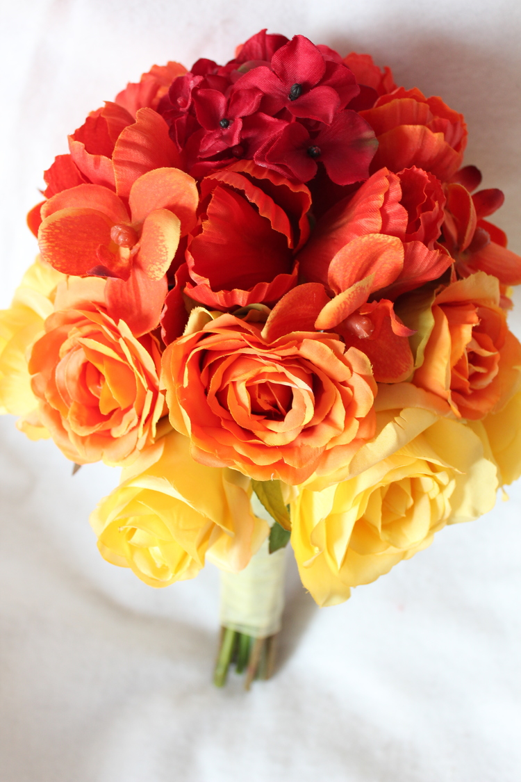 Buy silk wedding flowers online at the love is blooming etsy shop ombre silk bridal bouquet in yellow and orange roses orange orchids and tulips and mightylinksfo