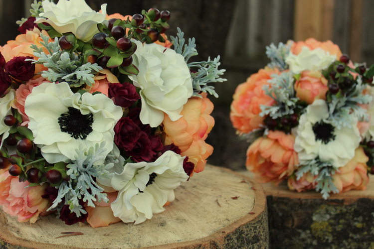 Rustic Bridal Bouquets for Spring or Fall — Silk Wedding Flowers ...