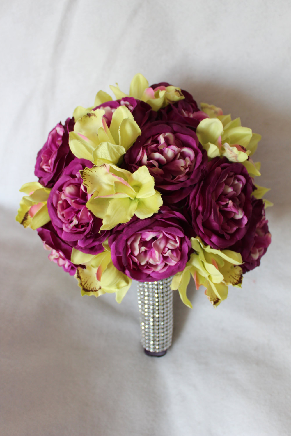 minneapolis-silk-florist-English-Rose-&-Cymbidium-Orchid-Silk-Wedding-Flower-Bouquet-and-Matching-Boutonniere-in-Violet-and-Lime-Green.jpg