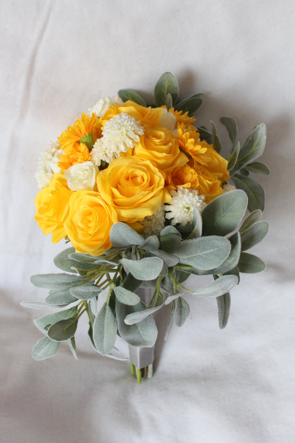minneapolis-silk-florist-Yellow-White-Gray-Modified-Cascading-Silk-Flower-Bridal-Bouquet-&-Matching-Boutonniere.jpg