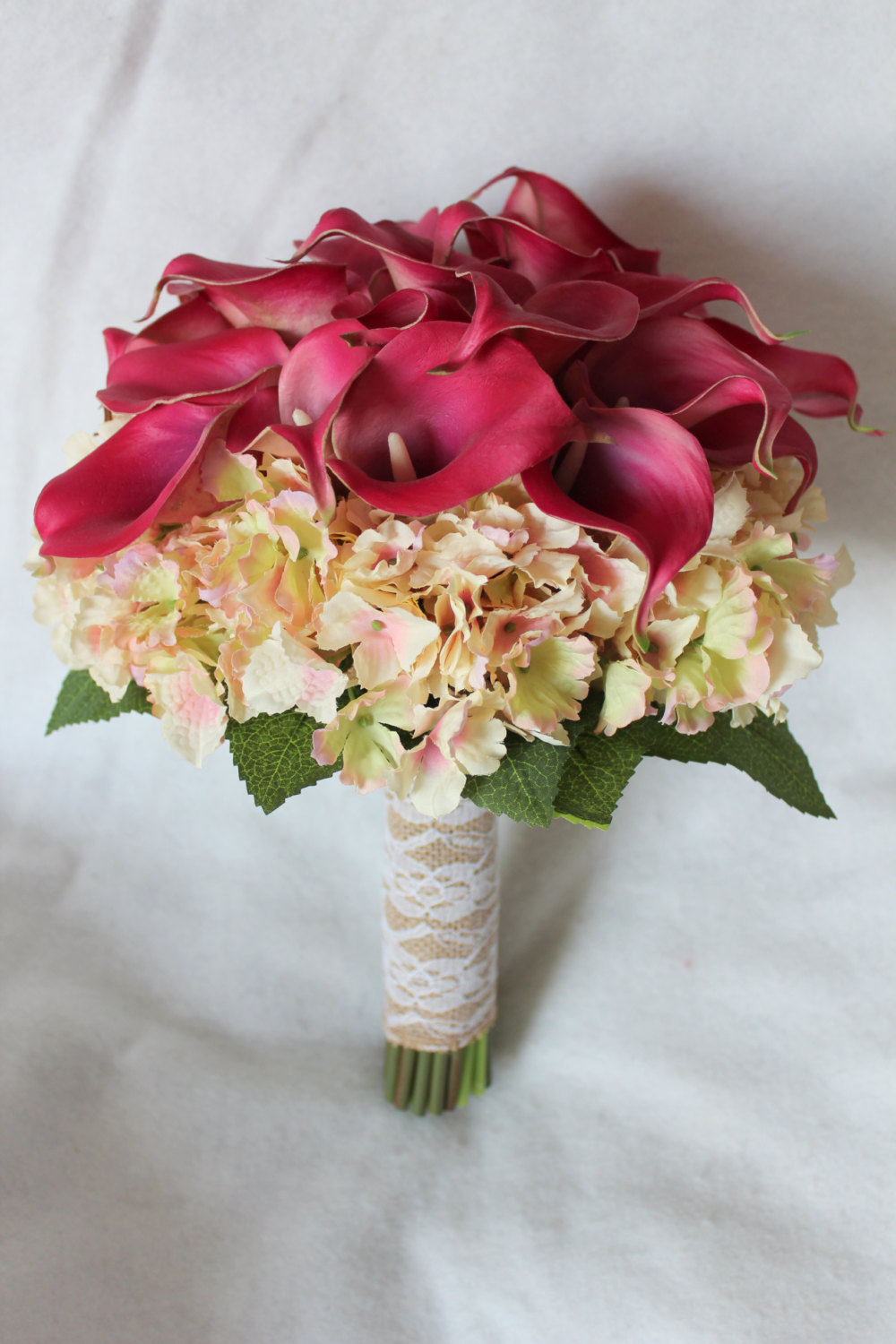 minneapolis-silk-florist-Calla-Lily-and-Hydrangea-Silk-Wedding-Flower-Bouquet-in-Raspberry-and-Cream-Pink-with-Burlap-and-Lace-Wrap-&-Matching-Boutonniere.jpg