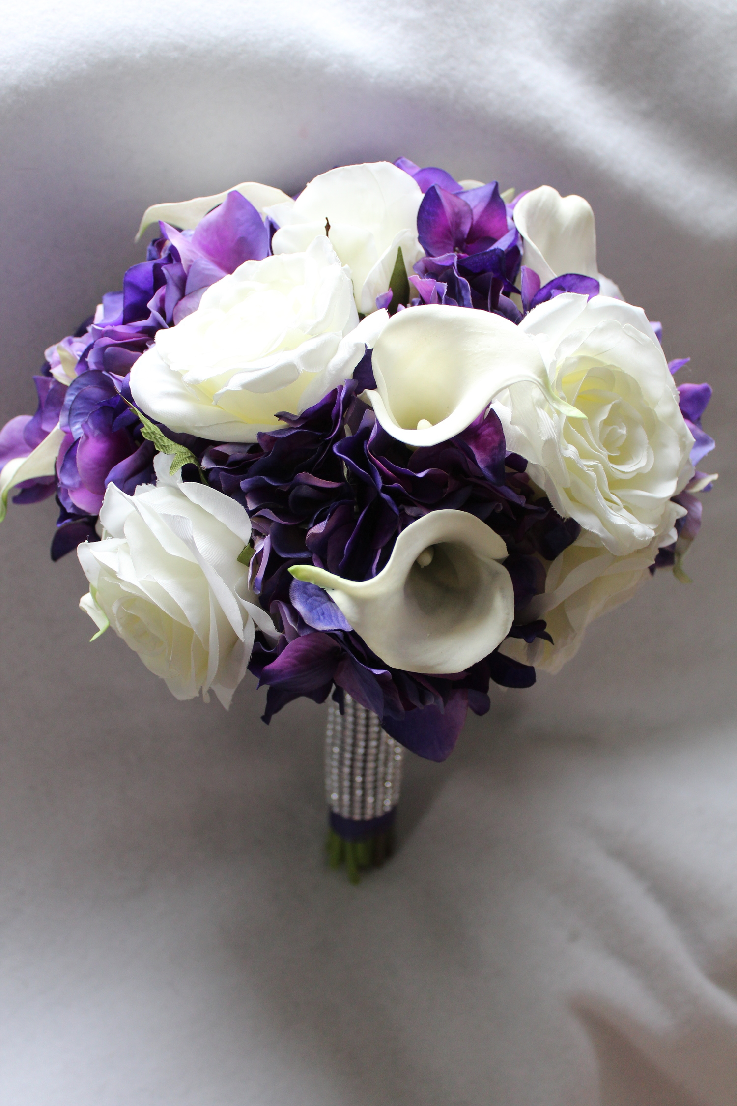 Purple Flowers Bouquet With White