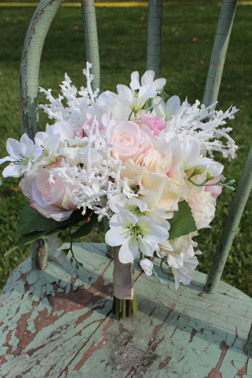 Blush Pink Roses and Hydrangea, White Astilbe and White Freesia