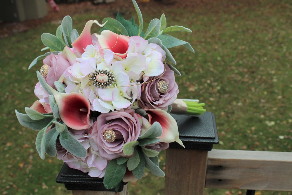 Mauve roses, pink and cream Hydrangea, Ivory and pink Calla Lilies, Lamb's ear