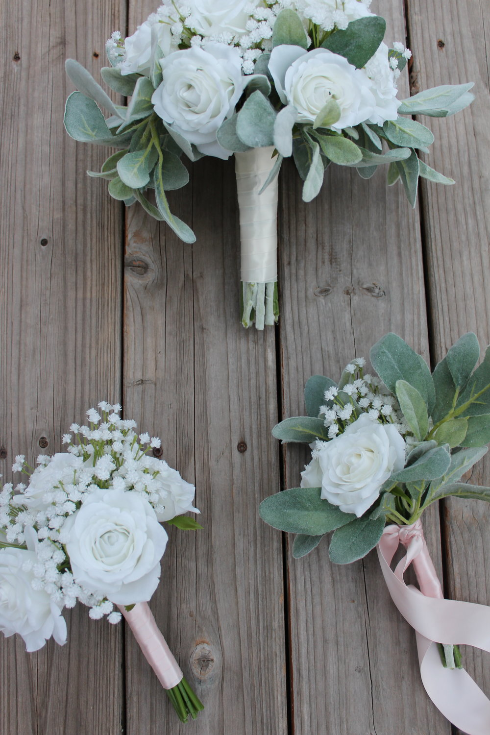 Silk wedding flowers in white silk wedding flowers and bouquets bridesmaid and toss bouquets tied off with blush pink ribbon mightylinksfo