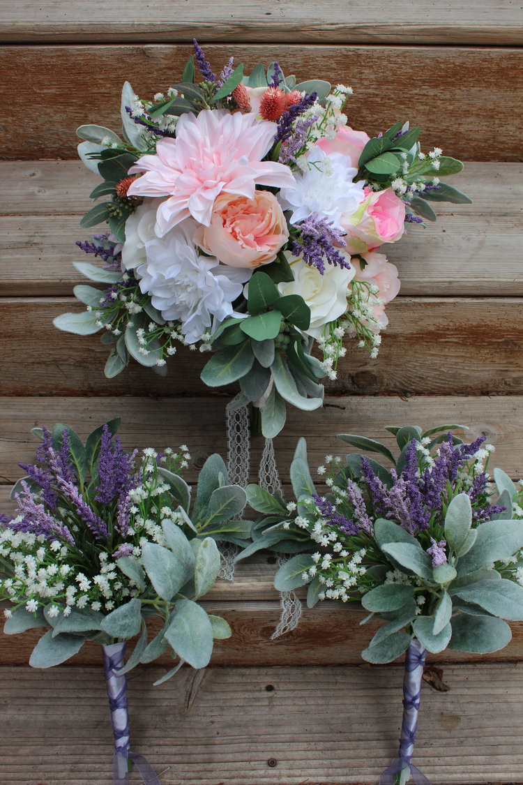 Spring bridal bouquet in silk flowers loose style bouquets silk the bridal bouquet is a mix of peonies dahlias roses lavender babys breath lambs ear and eucalyptus dried gomphrena and some berries mightylinksfo Gallery