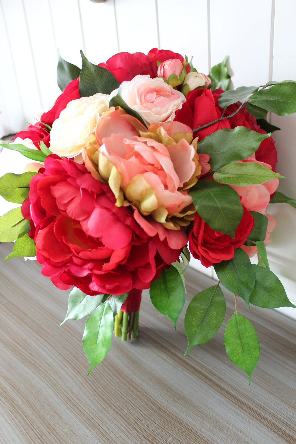 Coral and Red Wedding Bouquets — Silk Wedding Flowers and Bouquets ...