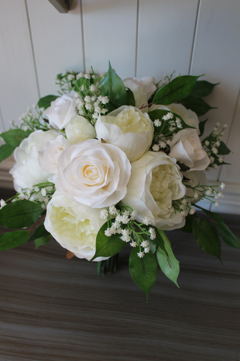 Ivory and White Silk Wedding Flower Bouquets with Greenery — Silk ...
