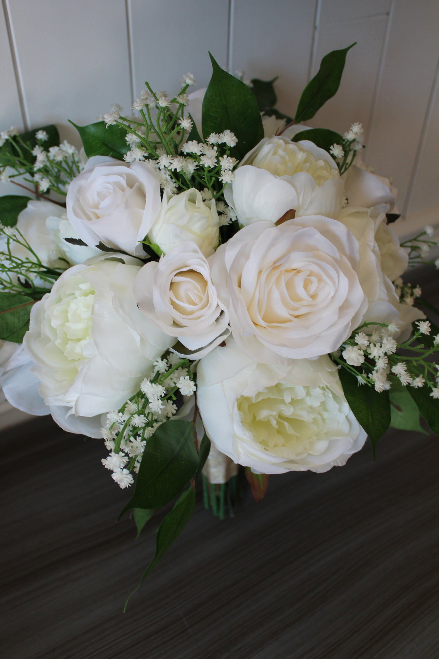 Ivory And White Silk Wedding Flower Bouquets With Greenery Silk